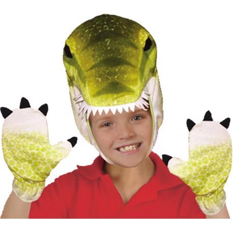 Set cappuccio guanti triceratopo